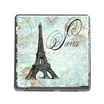Eiffel Tower Pink Roses Pillow Square Copy Cc Memory Card Reader with Storage (Square)