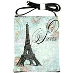 Eiffel Tower Pink Roses Pillow Square Copy Cc Shoulder Sling Bag