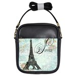 Eiffel Tower Pink Roses Pillow Square Copy Cc Girls Sling Bag