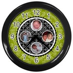 Lime Green & Black Clock - Wall Clock (Black)