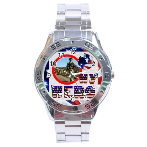 My Hero Us Military Stainless Steel Analogue Watch By Catvinnat   Stainless Steel Analogue Watch   Mrzvryzb0slb   Www Artscow Com Front