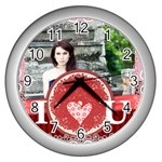 i love you - Wall Clock (Silver)