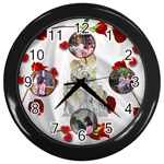 angel and roses clock - Wall Clock (Black)