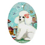 Wht Poodle Bon Bon Treats Squared Copy Ornament (Oval)