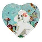 Wht Poodle Bon Bon Treats Squared Copy Ornament (Heart)