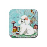 Wht Poodle Bon Bon Treats Squared Copy Rubber Square Coaster (4 pack)