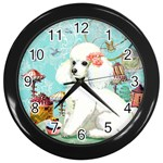 Wht Poodle Bon Bon Treats Squared Copy Wall Clock (Black)