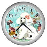 Wht Poodle Bon Bon Treats Squared Copy Wall Clock (Silver)