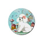 Wht Poodle Bon Bon Treats Squared Copy Rubber Round Coaster (4 pack)