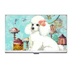 Wht Poodle Bon Bon Treats Squared Copy Business Card Holder