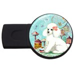 Wht Poodle Bon Bon Treats Squared Copy USB Flash Drive Round (1 GB)