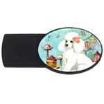 Wht Poodle Bon Bon Treats Squared Copy USB Flash Drive Oval (1 GB)