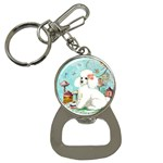 Wht Poodle Bon Bon Treats Squared Copy Bottle Opener Key Chain