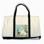Wht Poodle Bon Bon Treats Squared Copy Two Tone Tote Bag