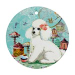 Wht Poodle Bon Bon Treats Squared Copy Round Ornament (Two Sides)