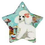 Wht Poodle Bon Bon Treats Squared Copy Star Ornament (Two Sides)