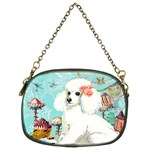 Wht Poodle Bon Bon Treats Squared Copy Chain Purse (Two Sides)