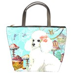 Wht Poodle Bon Bon Treats Squared Copy Bucket Bag