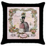 Black Poodle Marie Antoinette Throw Pillow Case (Black)