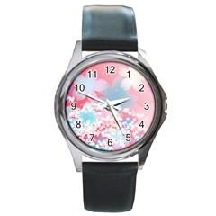 Flower2 Round Metal Watch