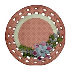 Peace, Love/christmas Filagree Round Ornament (2 Sides) By Mikki   Round Filigree Ornament (two Sides)   6q88zltqxsxu   Www Artscow Com Front