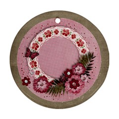 Sweet Pink Flowers Ornament  2 Sides By Mikki   Round Ornament (two Sides)   Noore32q05w2   Www Artscow Com Front