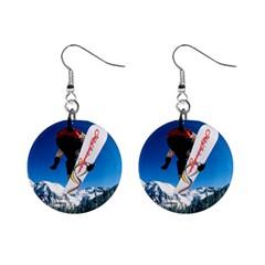 Snowboard Sport Airborne Mini Button Earrings