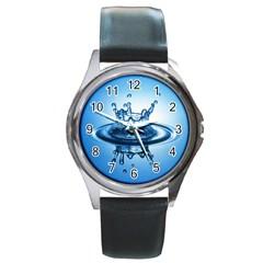 Water1 Round Metal Watch by designergaze