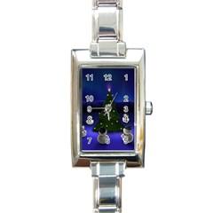 Xmas6 Rectangular Italian Charm Watch by designergaze