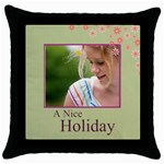 nice holiday - Throw Pillow Case (Black)