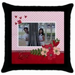 Throw Pillow Case (Black)- LOVE