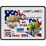 Land of the Free US Military Extra Large Fleece - Fleece Blanket (Large)