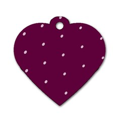 Purple White Dots Dog Tag Heart (two Sides) by PurpleVIP