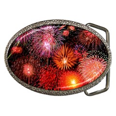 Fireworks Belt Buckle (oval)
