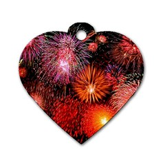 Fireworks Single Sided Dog Tag (heart) by level1premium