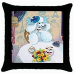 poodle tea party cupcake plain artsnow Throw Pillow Case (Black)