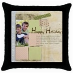 happy holiday - Throw Pillow Case (Black)