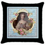Young Marie Antoinette Portrait Throw Pillow Case (Black)