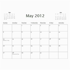 Summer Vacation Calender By Paula Yagisawa   Wall Calendar 11  X 8 5  (12 Months)   Kc7g1eg332h1   Www Artscow Com May 2012