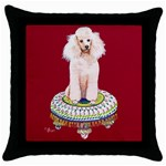 poodle on tuffet for sticker etc Throw Pillow Case (Black)