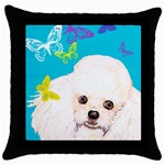 basket poo w butterflies vignetter Throw Pillow Case (Black)