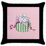 hatbox poodles zazz Throw Pillow Case (Black)