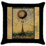 steampunk hot air balloon pillow gold 2 for artsnow Throw Pillow Case (Black)