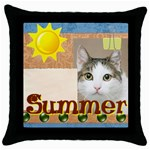 happy pet - Throw Pillow Case (Black)