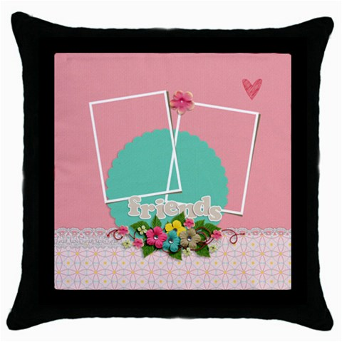 Throw Pillow  Friends By Jennyl   Throw Pillow Case (black)   V29fq58rwue8   Www Artscow Com Front