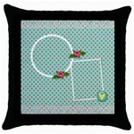 Throw Pillow-  Red Polka - Throw Pillow Case (Black)