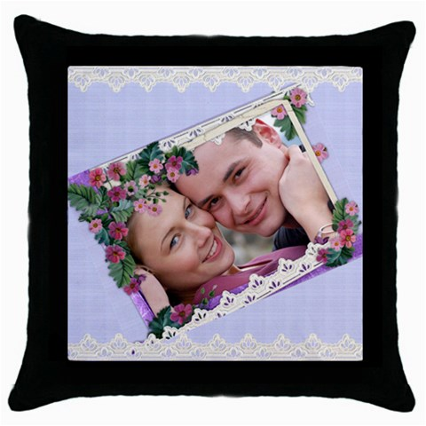 All Framed In Lace And Flowers By Deborah   Throw Pillow Case (black)   A3tfskt5vazd   Www Artscow Com Front
