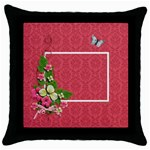 Throw Pillow - Flower Power - Throw Pillow Case (Black)