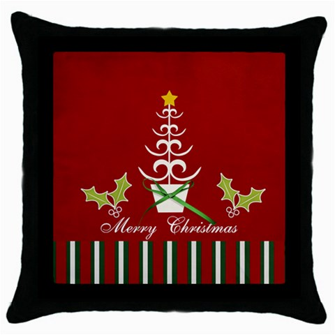 Throw Pillow  Merry Christmas 2 By Jennyl   Throw Pillow Case (black)   Rh797ptizfhx   Www Artscow Com Front