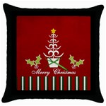 Throw Pillow- Merry Christmas 2 - Throw Pillow Case (Black)